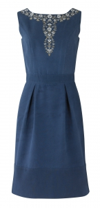 Rita Hand Embroidered Dress in Navy