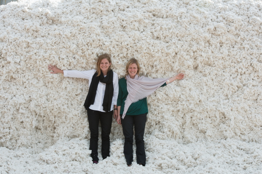 Georgina Thomas, Textiles Manager at the Soil Association, with a pile of organic cotton