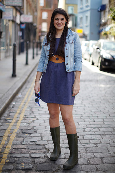 Becky wears the Blue Jersey Dress with a waist flattering belt and on-trend denim jacket...