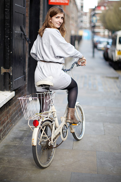 Imogen layers the Grey Jersey dress with navy tights and boots for an effortless bike-friendly style.