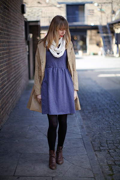 Jo layers the Blue Jersey dress over black tights with a classic trench coat and infiniti scarf - a versatile style perfect for the London spring.