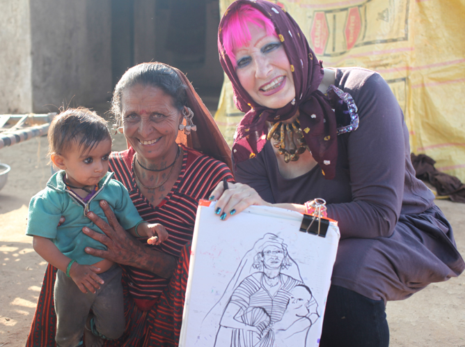 Zandra Rhodes shares a sketch of a beautiful Indian mum and her child