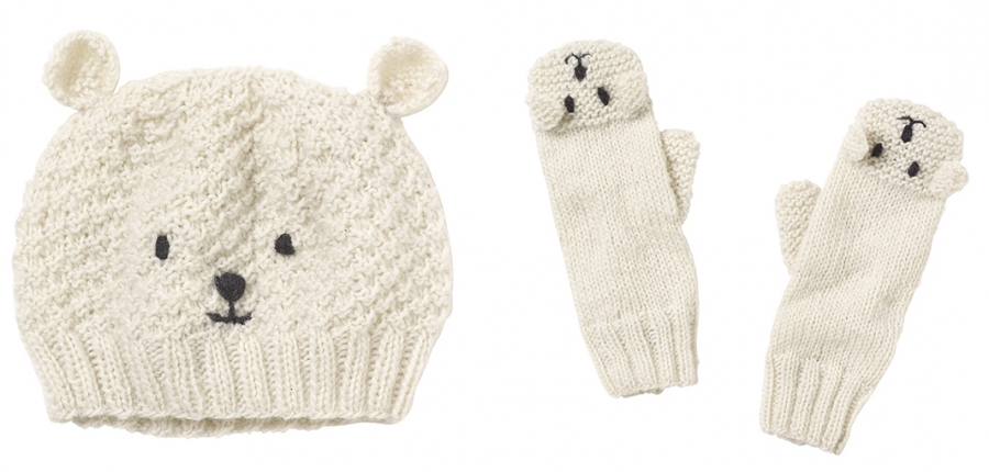 polar bear hat and mittens