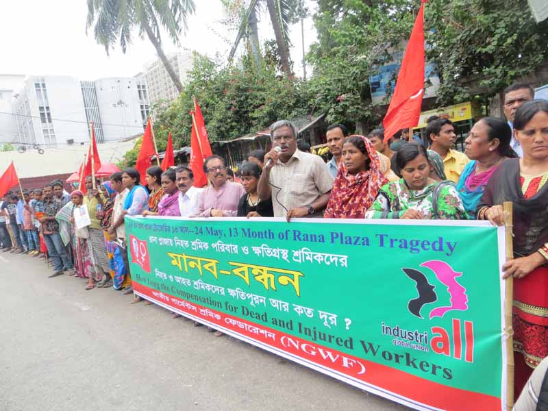 Amirul Haque Amin and protesters in Bangladesh call for compensation for victims of Rana Plaza