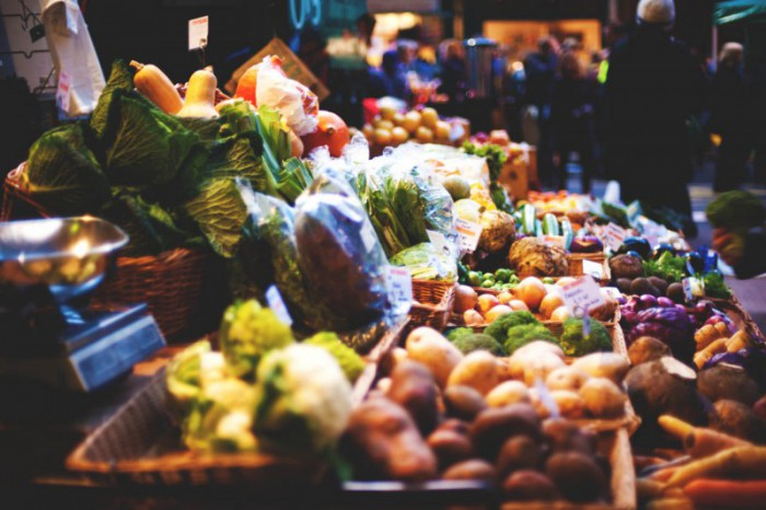 A vegetable stall at Borough Market in London, UK