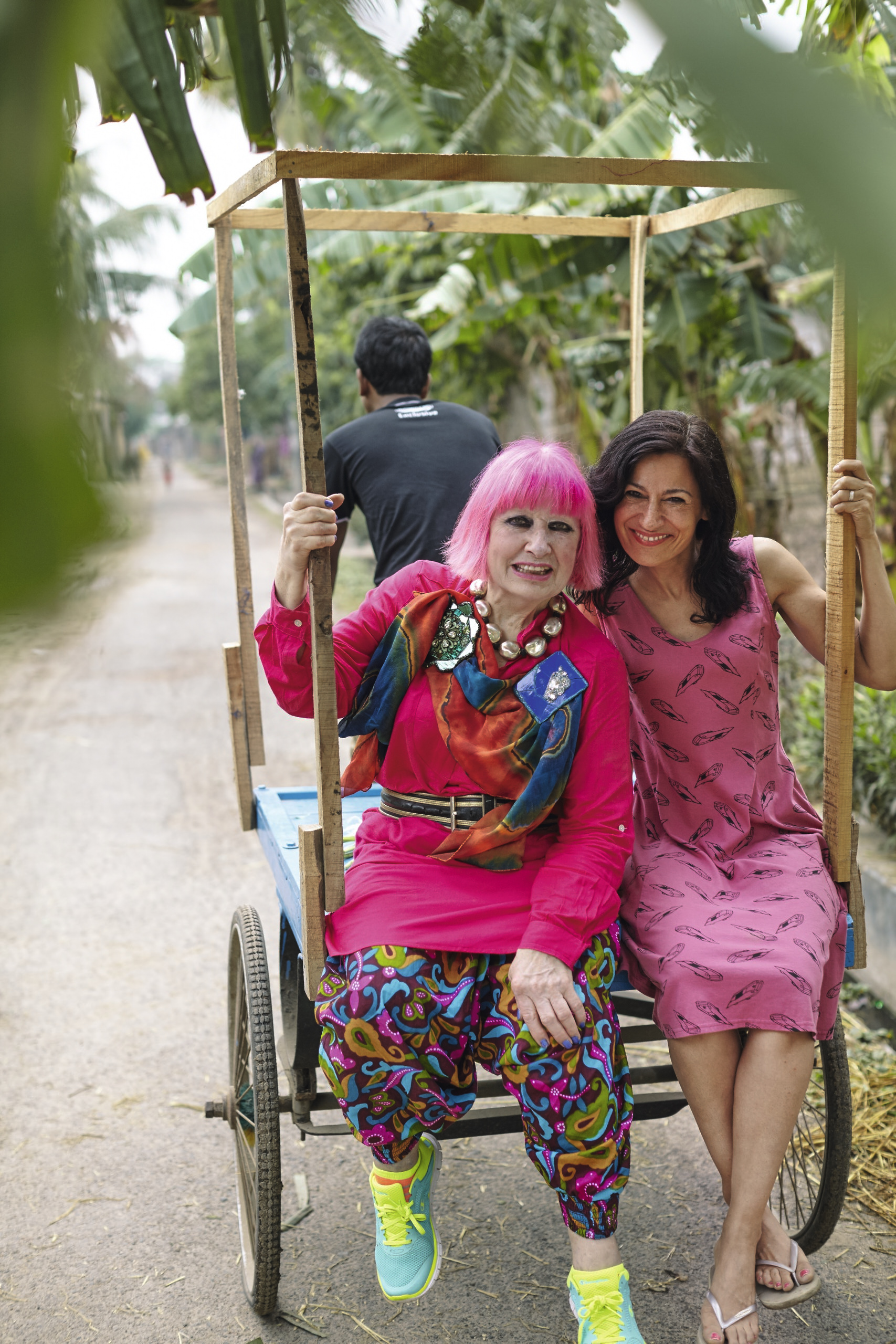 Zandra Rhodes with Safia Minney, CEO and Founder of People Tree, in Bangladesh in March 2015. Picture Belongs to People Tree.
