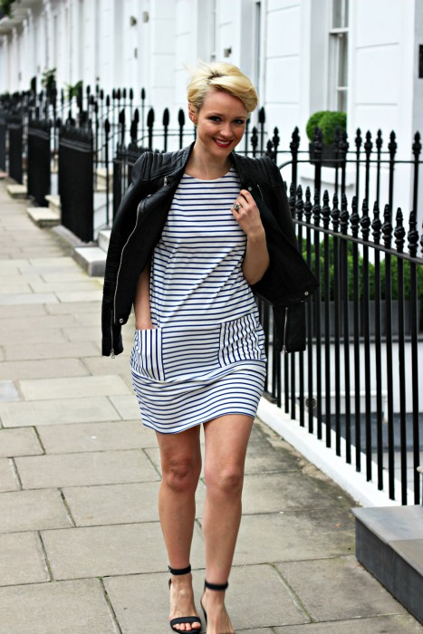 Kate wearing Aida Stripe Dress