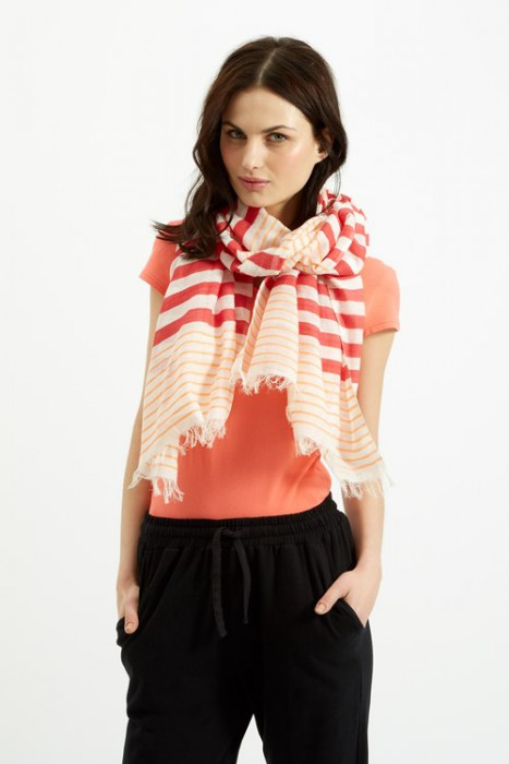 The Striped Scarf in Coral