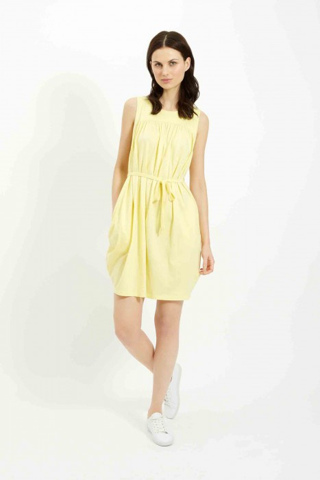 Gathered tie dress in Yellow £60 €85 front
