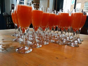 Picture of carrot and apricot mimosas served by the Duke of Cambridge pub at the Slow Fashion book launch