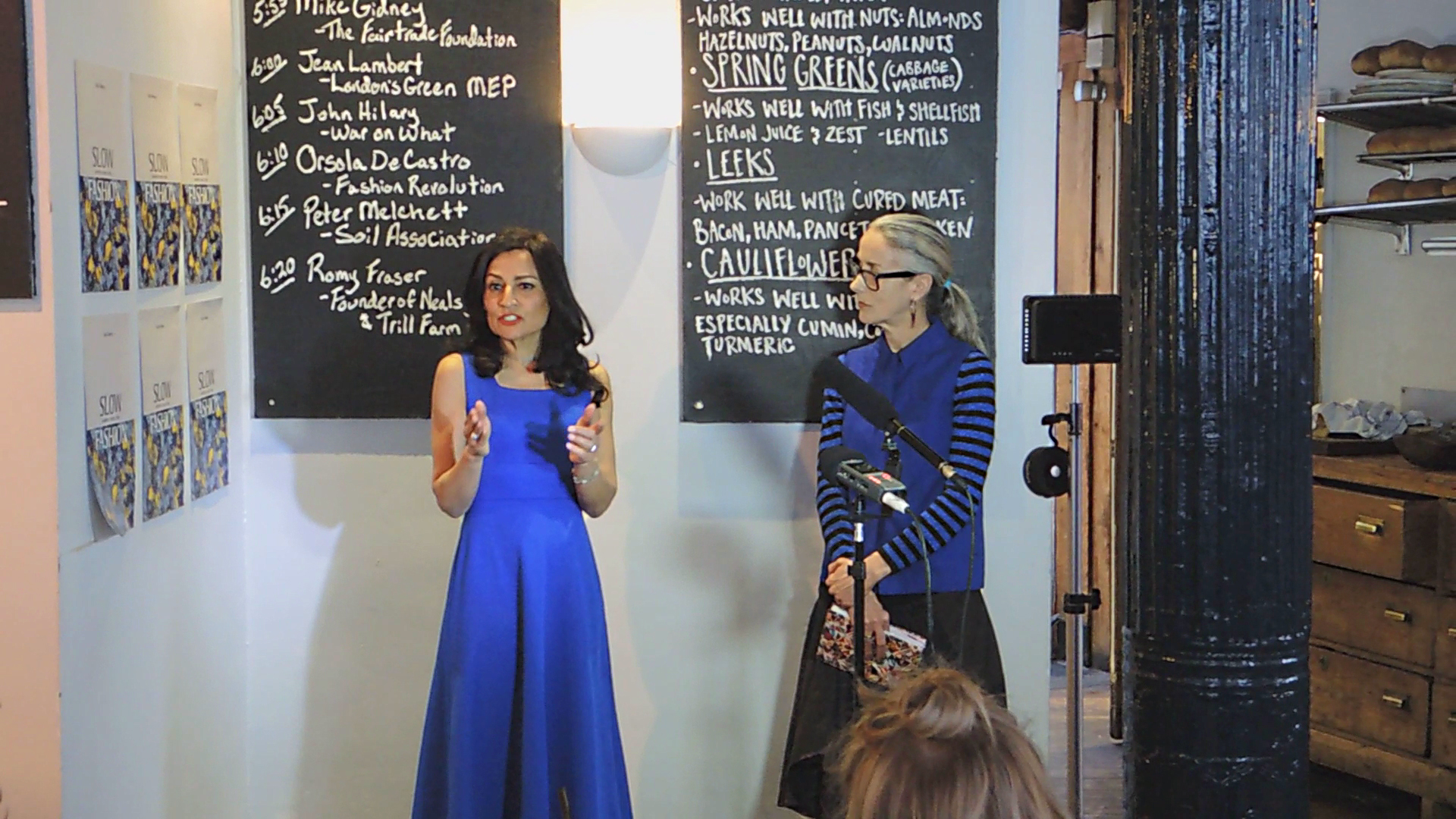 Safia Minney and Caryn Franklin at the launch of Slow Fashion