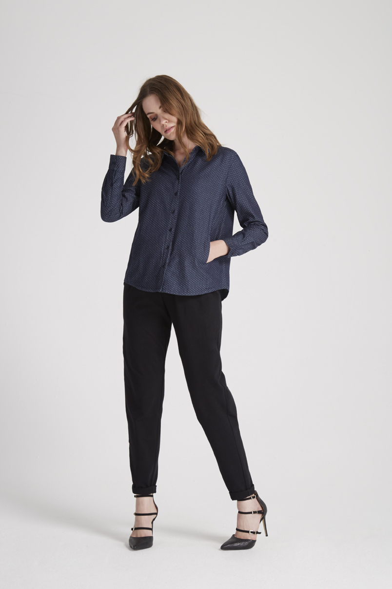 Dixie Dot Shirt in Navy multi (http://www.peopletree.co.uk/women/dixie-dot-shirt-in-blue) and Tasha Jersey Trousers in Black (http://www.peopletree.co.uk/women/tasha-trousers-in-black)