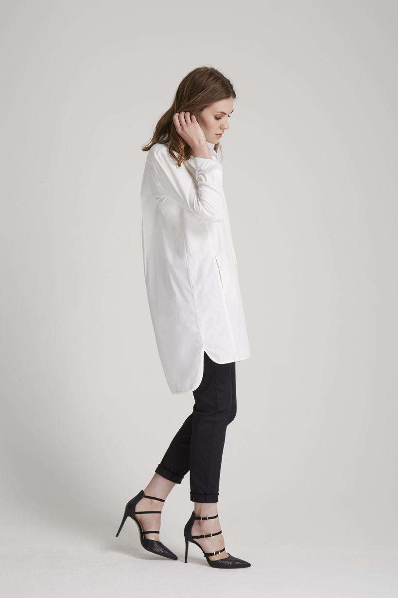 Kendall Shirt Dress in White (http://www.peopletree.co.uk/women/dresses/kendall-shirt-dress-in-white) and Tasha Jersey Trousers in Black (http://www.peopletree.co.uk/women/tasha-trousers-in-black)