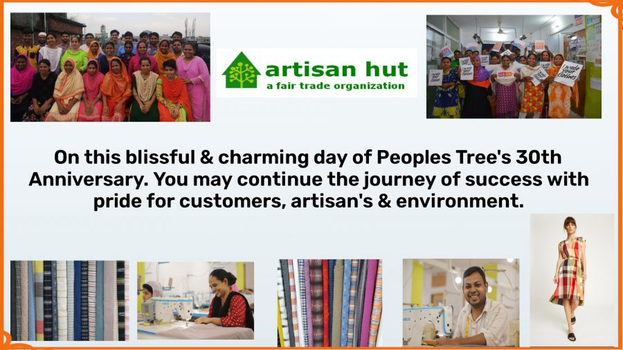 A birthday message from our producer to us, with pictures of the fabrics they make and the people who work there